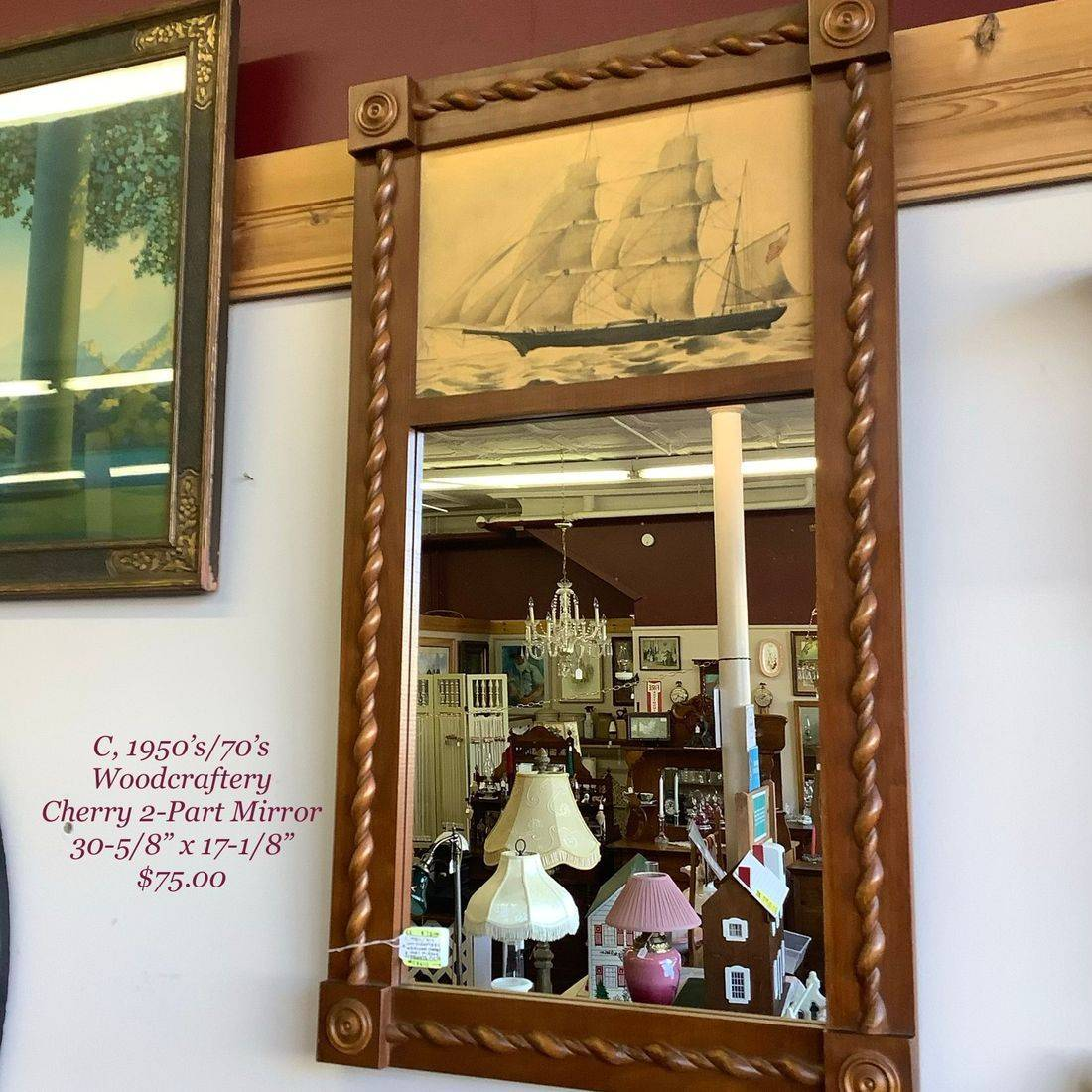 "C. 1950's/70's Woodcraftery Heirloom Cherry 2-Part Mirror w/Frigate Print  30-5/8"" x 17-1/8""  $75.00"