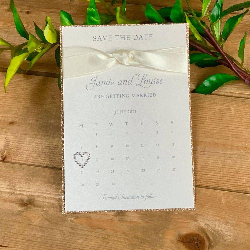 White  Save the Date with with glitter