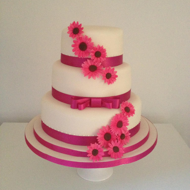 Pink Gerberas Stacked Wedding cake Fabu-Lous Cakes