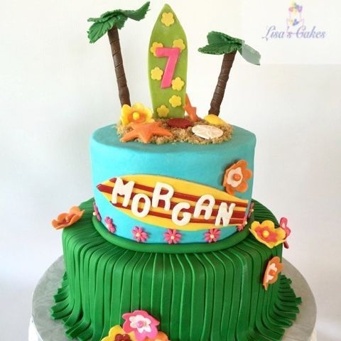 Beach Theme Birthday Cake Surfer Cake