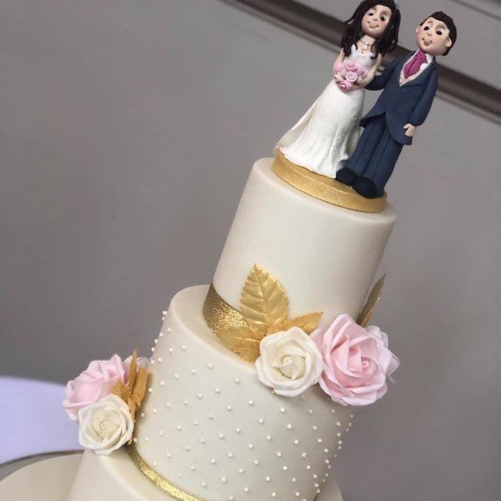 Wedding Cake vintage ivory pink gold topper bride groom dots