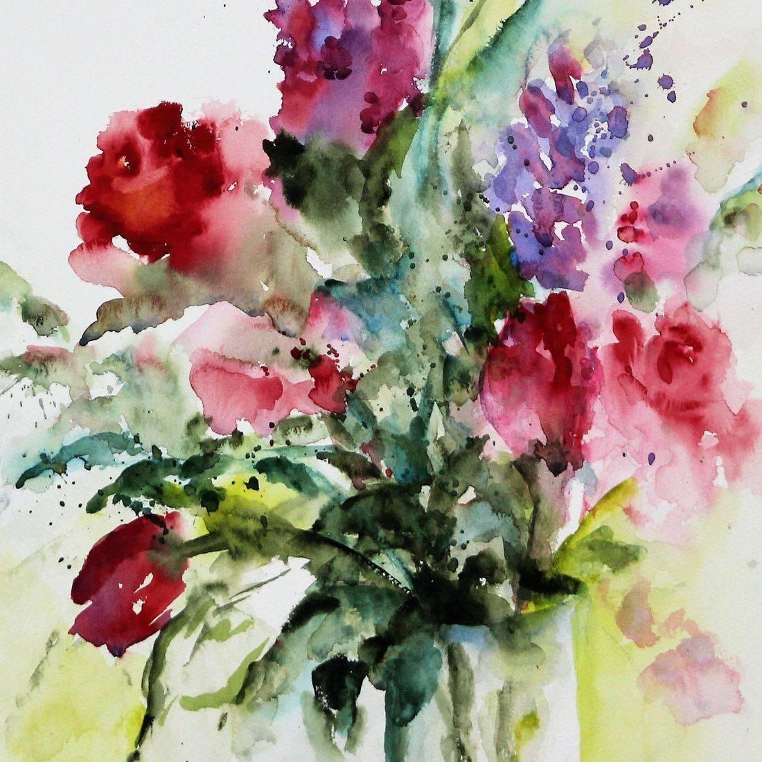 R Putbrese Watercolor, Rebecca Krutsinger watercolor painting of Floral mixed flowers
