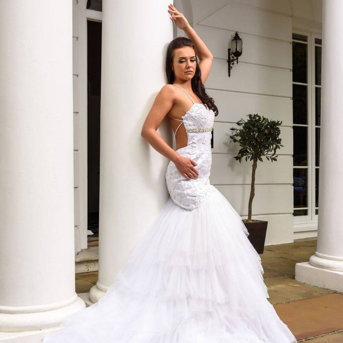 sexy wedding dress, dipped back wedding dress,   open back wedding dress, wedding dresses with spaghetti straps, layered skirt wedding dress