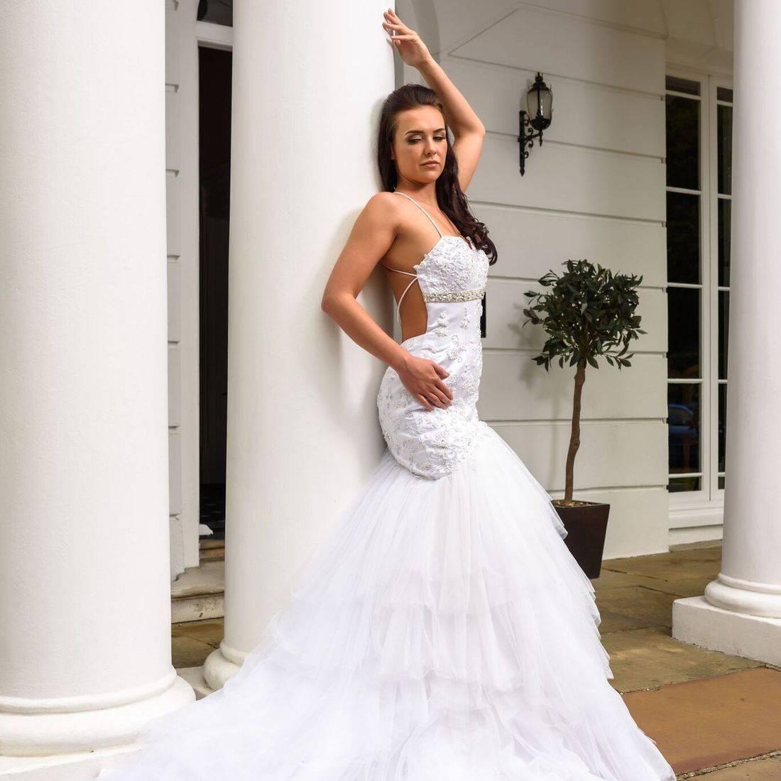 sexy wedding dress, dipped back wedding dress,   open back wedding dress, wedding dresses with spaghetti straps, layered skirt wedding dress