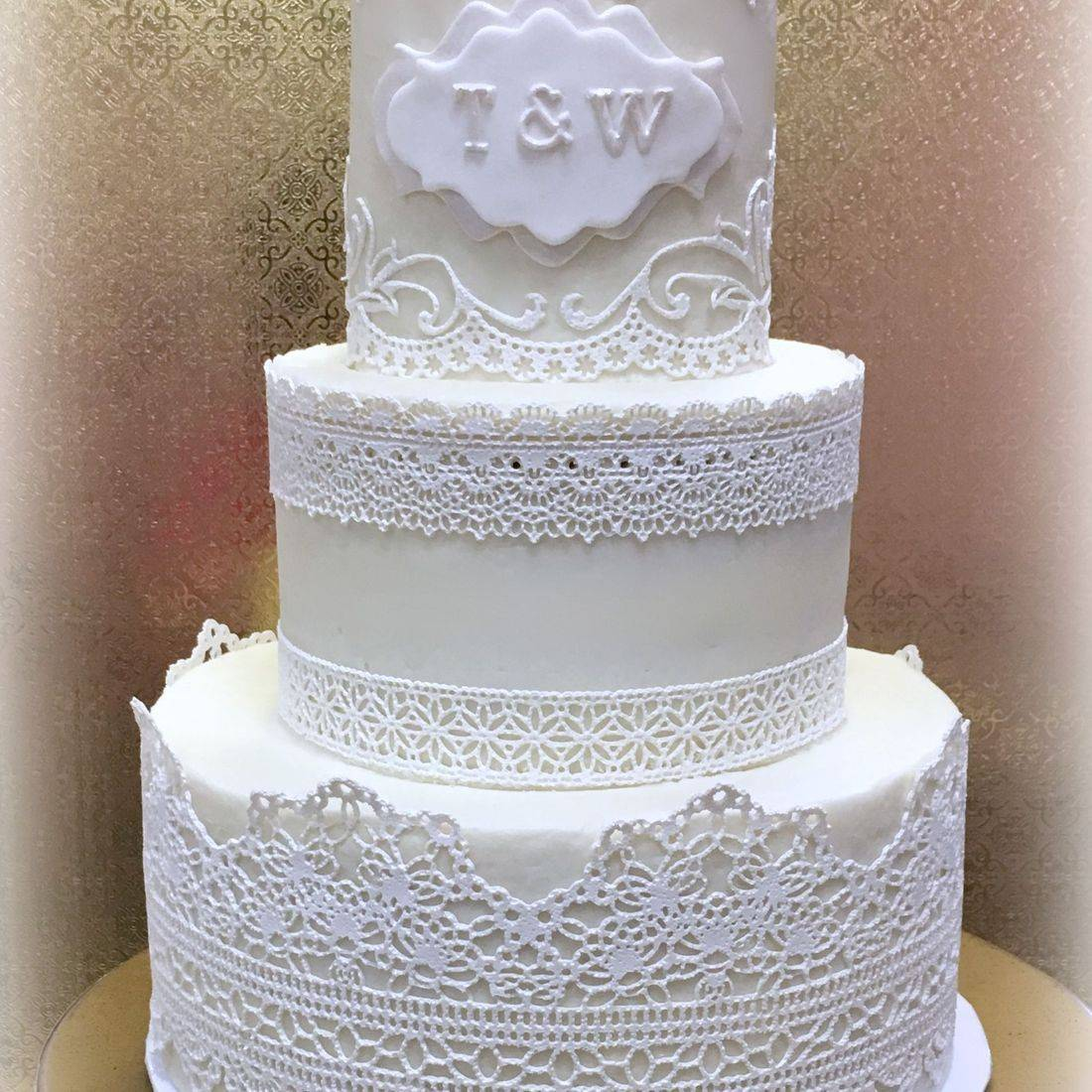 Buttercream Wedding Cake LACE  southern Chic