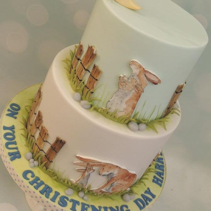 Guess How Much Love Bunny Handpainted Birthday Christening Cake Moon Stars