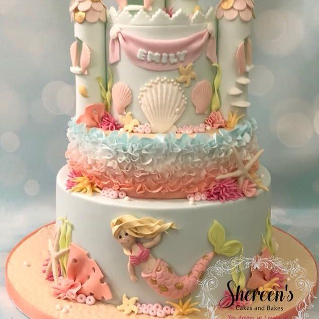 Princess Mermaid under The Sea Castle Cake