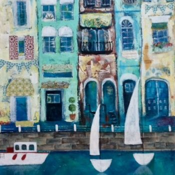 Mixed Media Collage,  My Little Town By Barbara Polc;  Collage Art Work on Canvas, Buildings, Canal, city scape, little town collage artwork