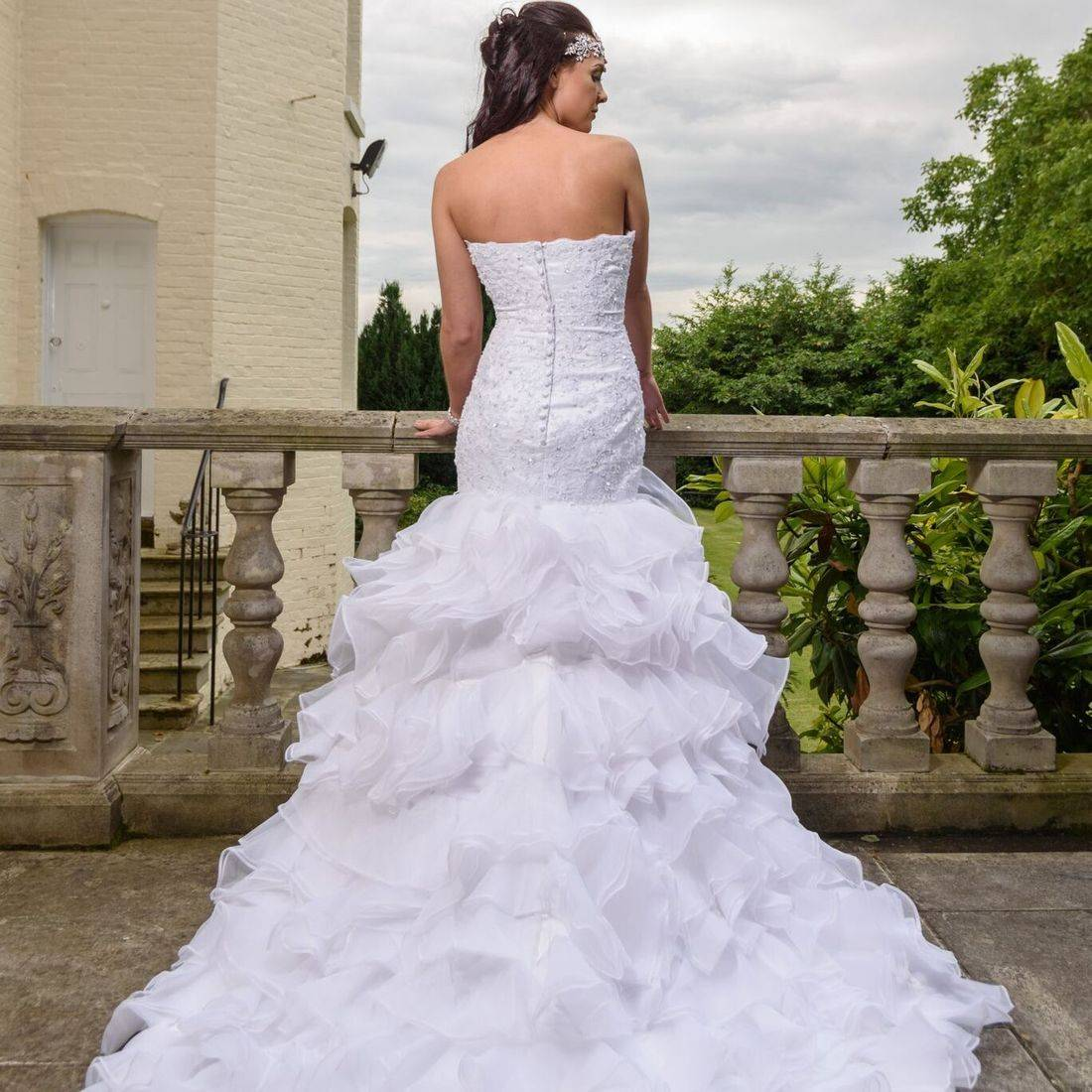 ruffled skirt wedding dress, ruffle wedding dress, elongated bodice wedding dress, sparkly wedding dress, sweatheart neckline
