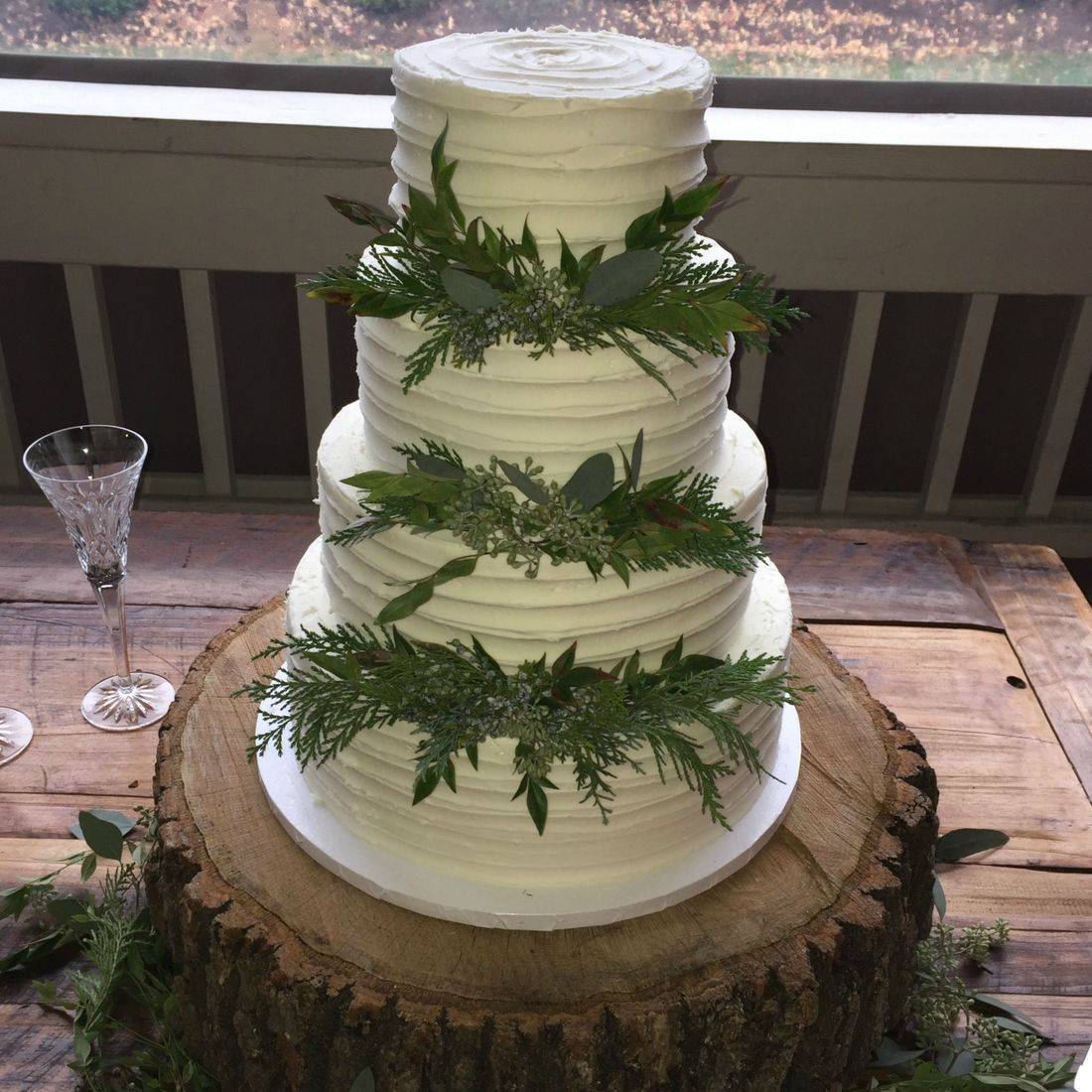 Buttercream Wedding Cake rustic greenery winter greens country southern