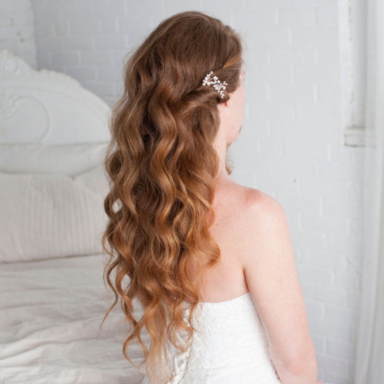Bridal hair Hollywood waves
