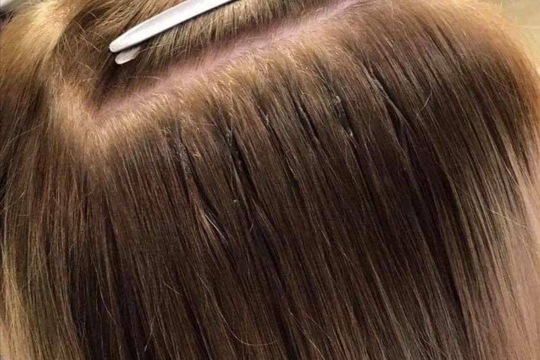 Close up of bonded hair extensions