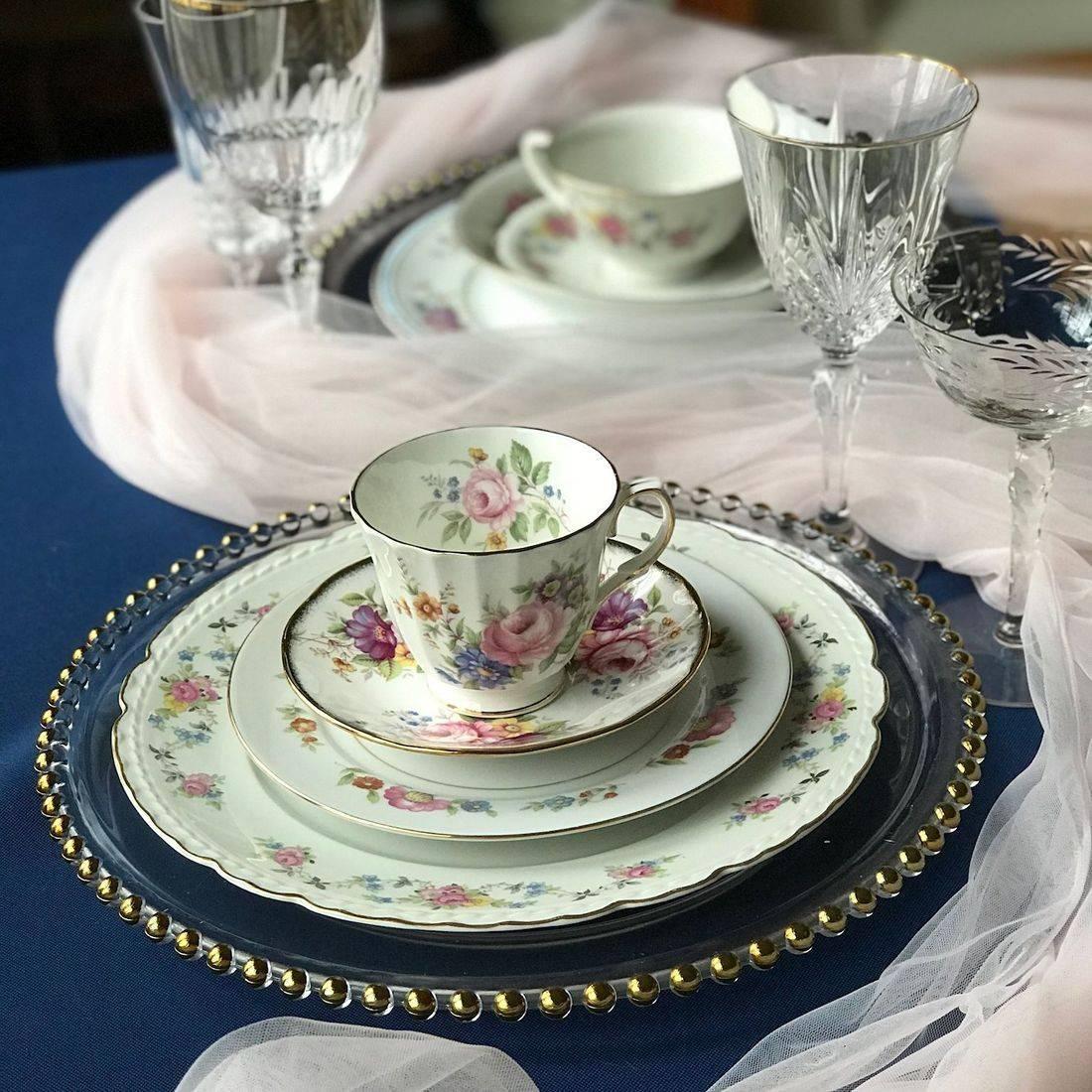 mismatched vintage china nj vintage goblets nj  vintage china rental nj vintage goblet rentals nj