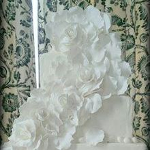 wedding cake  buttercream white large flower draping down tiers