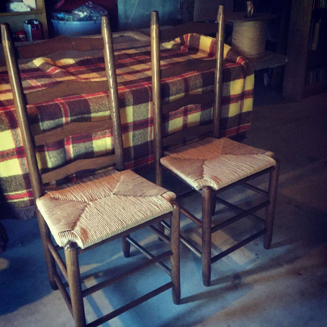 Ladder Back Rush Chairs with Wrapped Corners done by Hank's Cane & Rush Restoration