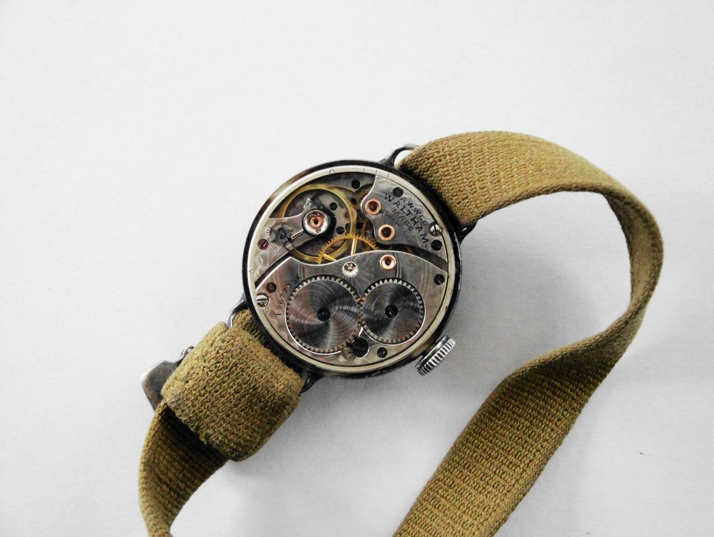 1916 WWI Waltham Depollier Trench Watch with the Factory Original KHAKI Strap