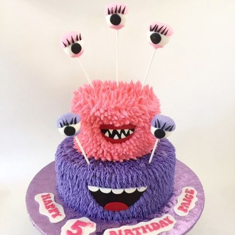 Girl Monster Birthday Cake