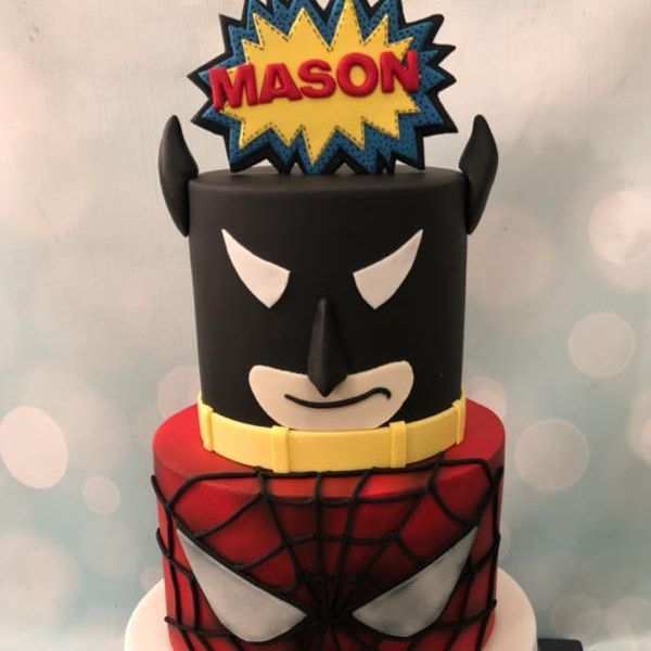 Superhero Cake Birthday Celebration Captain America Spiderman Batman