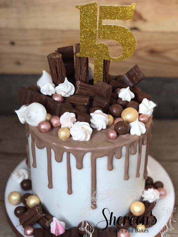 chocolate drip birthday cake gold glitter topper lustre balls meringues