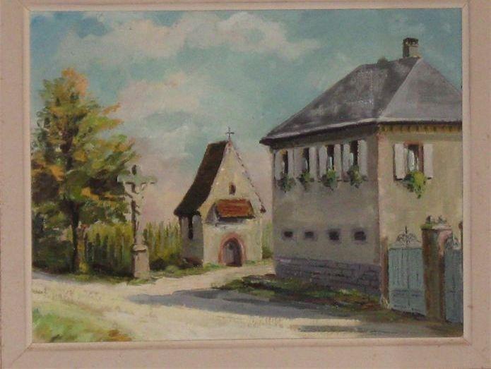 Ancienne aquarelle des chambres d'hôtes et de la chapelle Saint Erasme