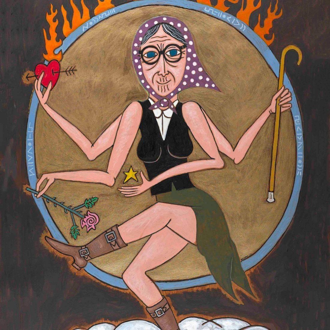 Vishnu, Hindu God, Hoop of Fire, Cloud, Fire, Babushka, Boots, Heart, Cane, Rose