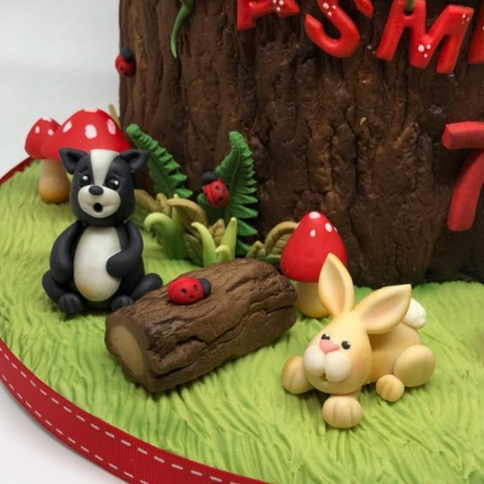 Woodland Cake Skunk Bunny Rabbit Ladybug Toadstool Tree Stump