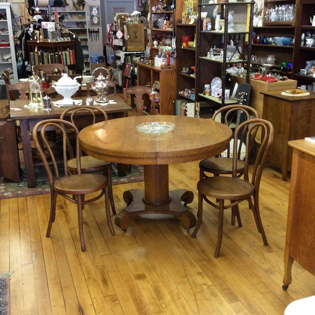 "Early 1900's Oak 48"" Round Table w/4-Bentwood Oak Chairs and 3-Mismatched Oak Leaves   $350.00"