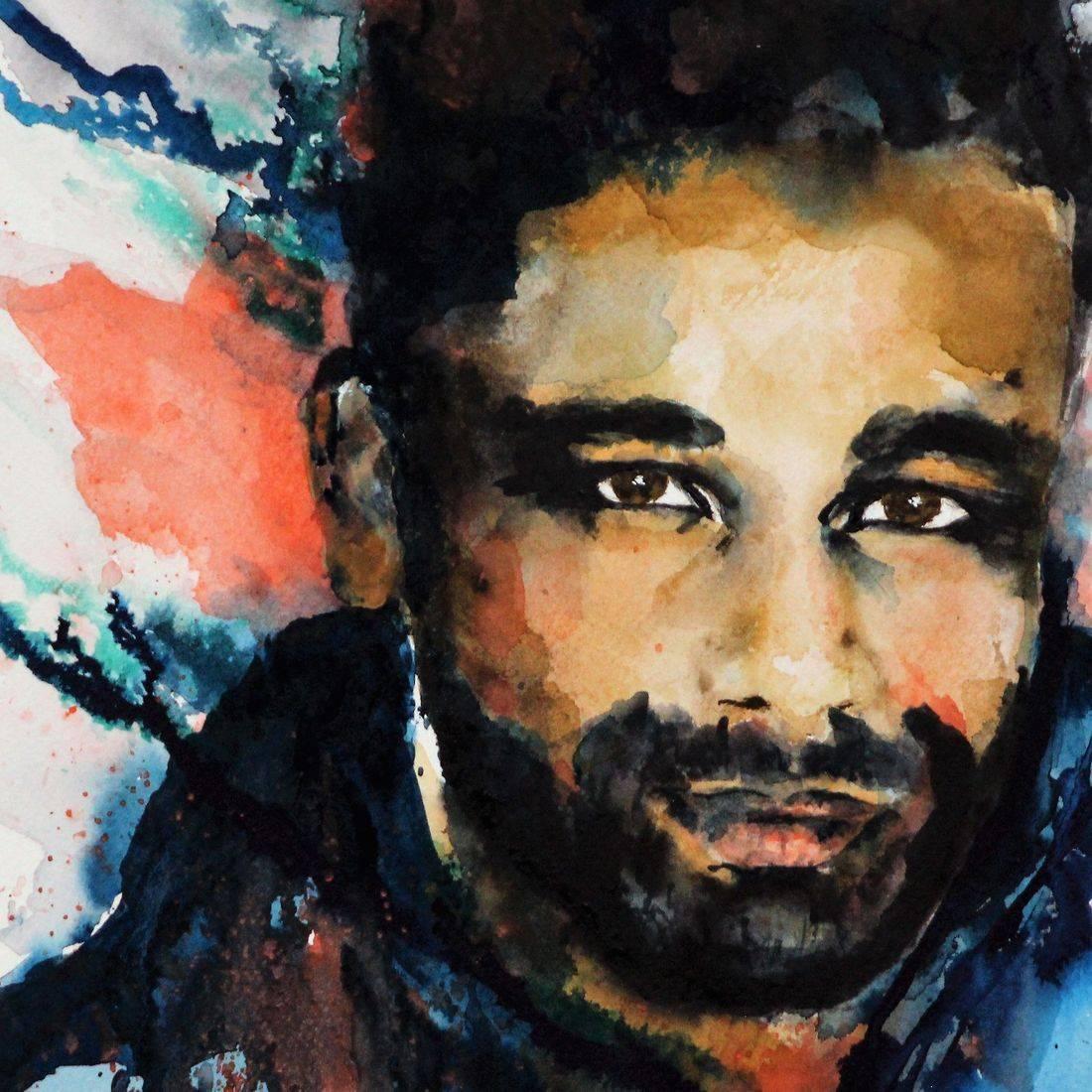 R Putbrese watercolor portrait of young black man by Rebecca krutsinger