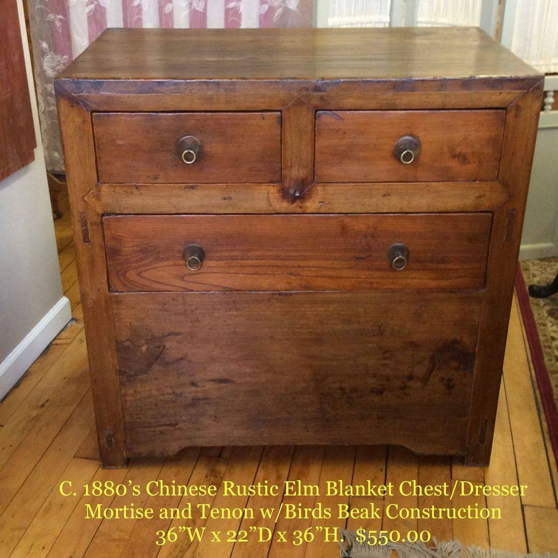 "19th Century Chinese Rustic Elm Blanket Chest/Dresser, Mortise and Tenon Construction w/Brass Ring-Pull Handles C. 1880's  36-1/2""W x 22""D x 36-1/4""H.  $550.00"