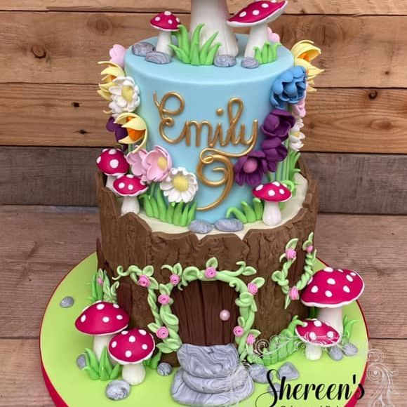 Fairy Garden Birthday Cake Flowers Toadstool Pretty