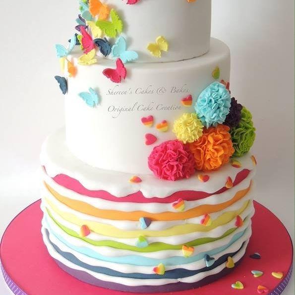 Rainbow Birthday Cake Pom Pom Flower Butterflies