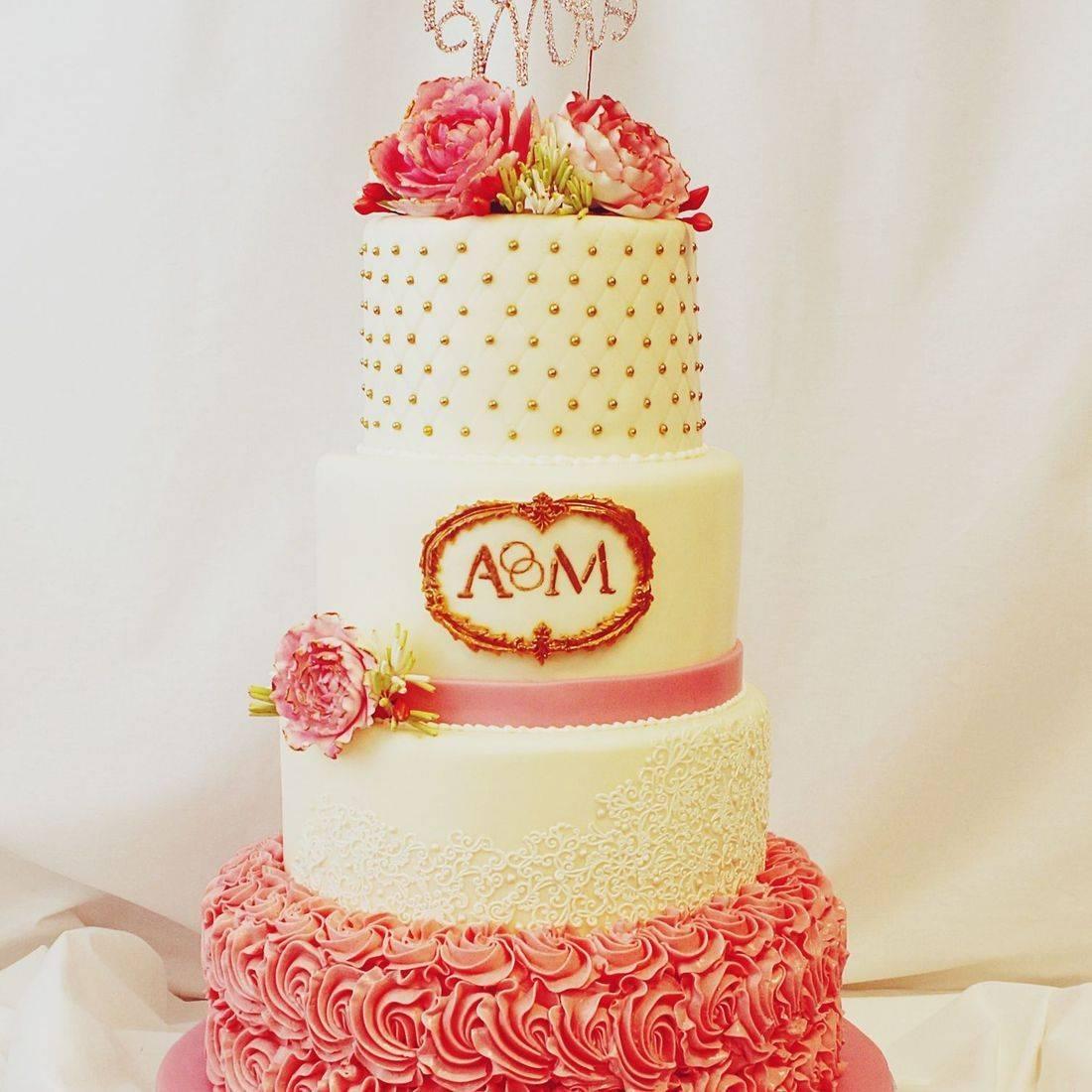 Custom Coral Gold Wedding Cake  Milwaukee