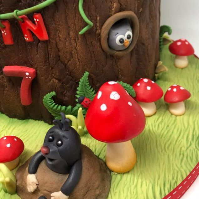 Woodland Birthday Cake Hedgehogs Toadstools Mole Skunk Bunny Rabbit Ladybugs Tree Stump