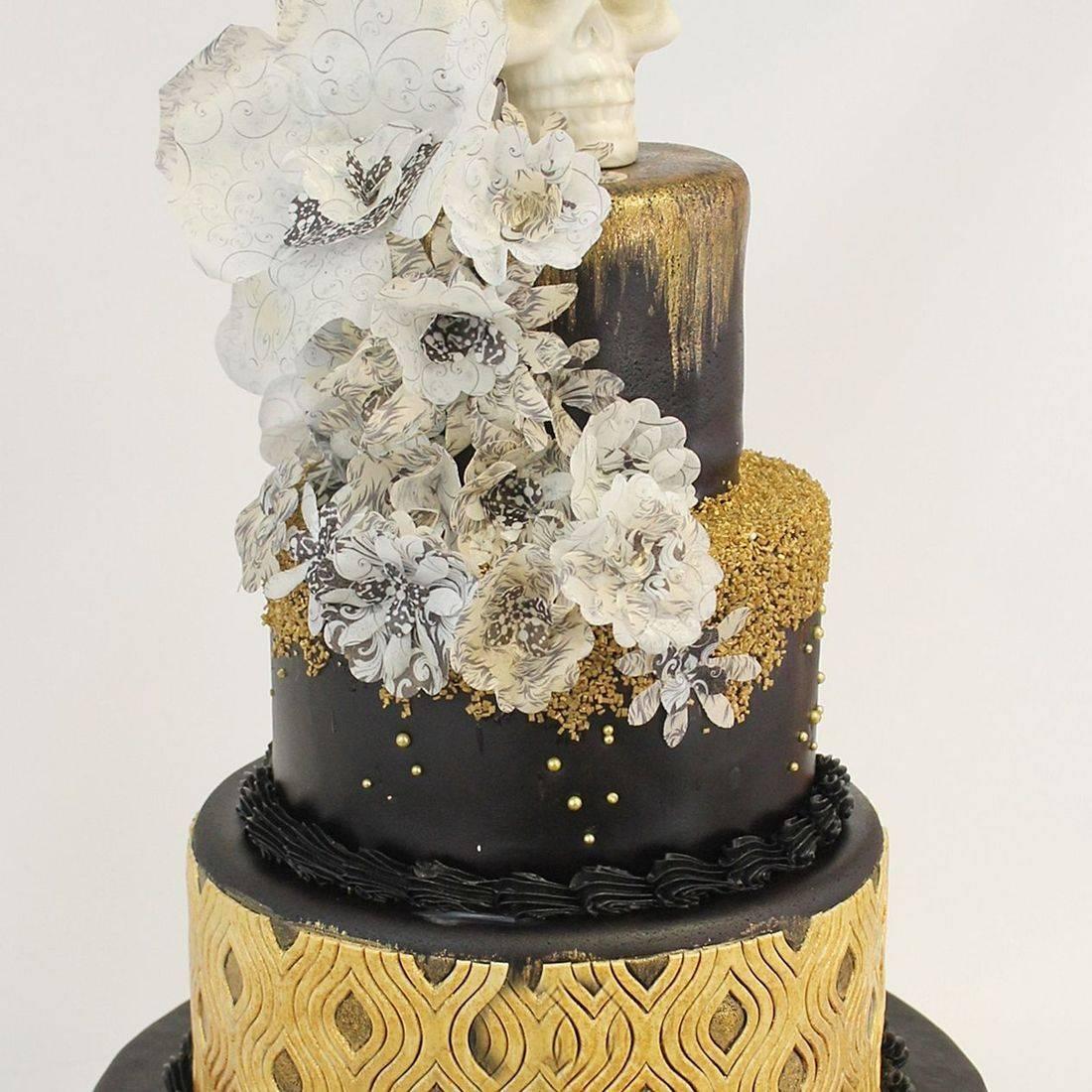 Custom  Gold Black Halloween  Cake  Milwaukee