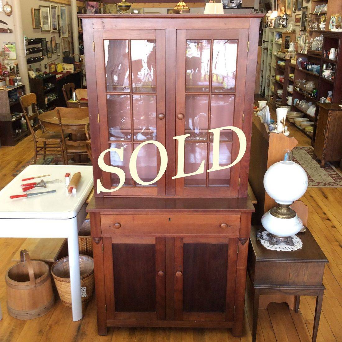 "Primitive Step-Back Cherry Hutch  38""W x 19-1/4""D x 77""H.  $750.00"