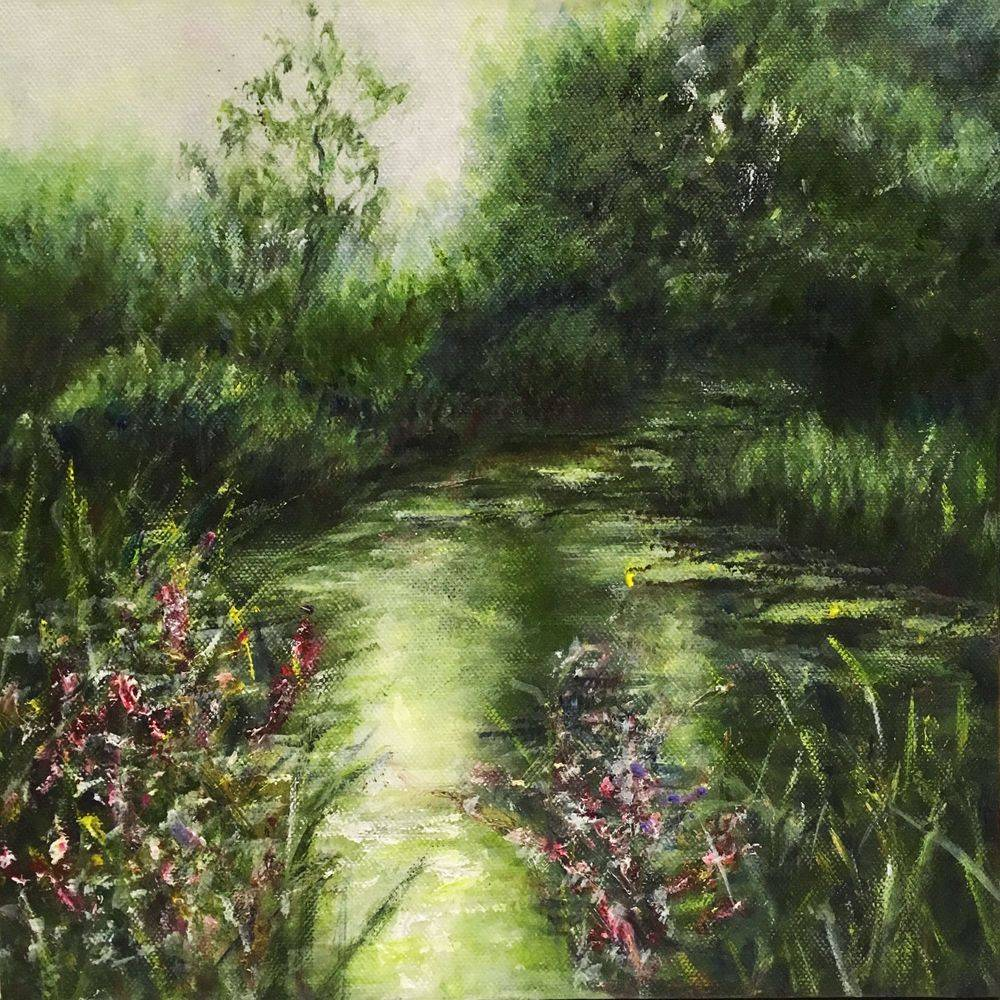 River in Regents Park London: oil painting by Marcia Kuperberg
