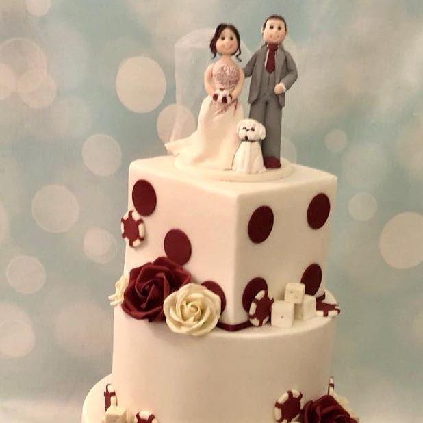 Wedding Cake Vegas Dice Chips Roses