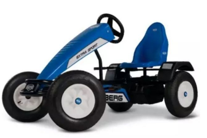 The go-kart has adjustable seat. It is suitable for children from the age of 5 and for adults (up to 100 kg). It is also suitable for professional use. This fantastic model is fitted with BFR system.  BFR means Brake, Freewheel & Reverse, it means you can Brake and Reverse. It also enables you to freewheel, whereby the pedals stay still while the wheels