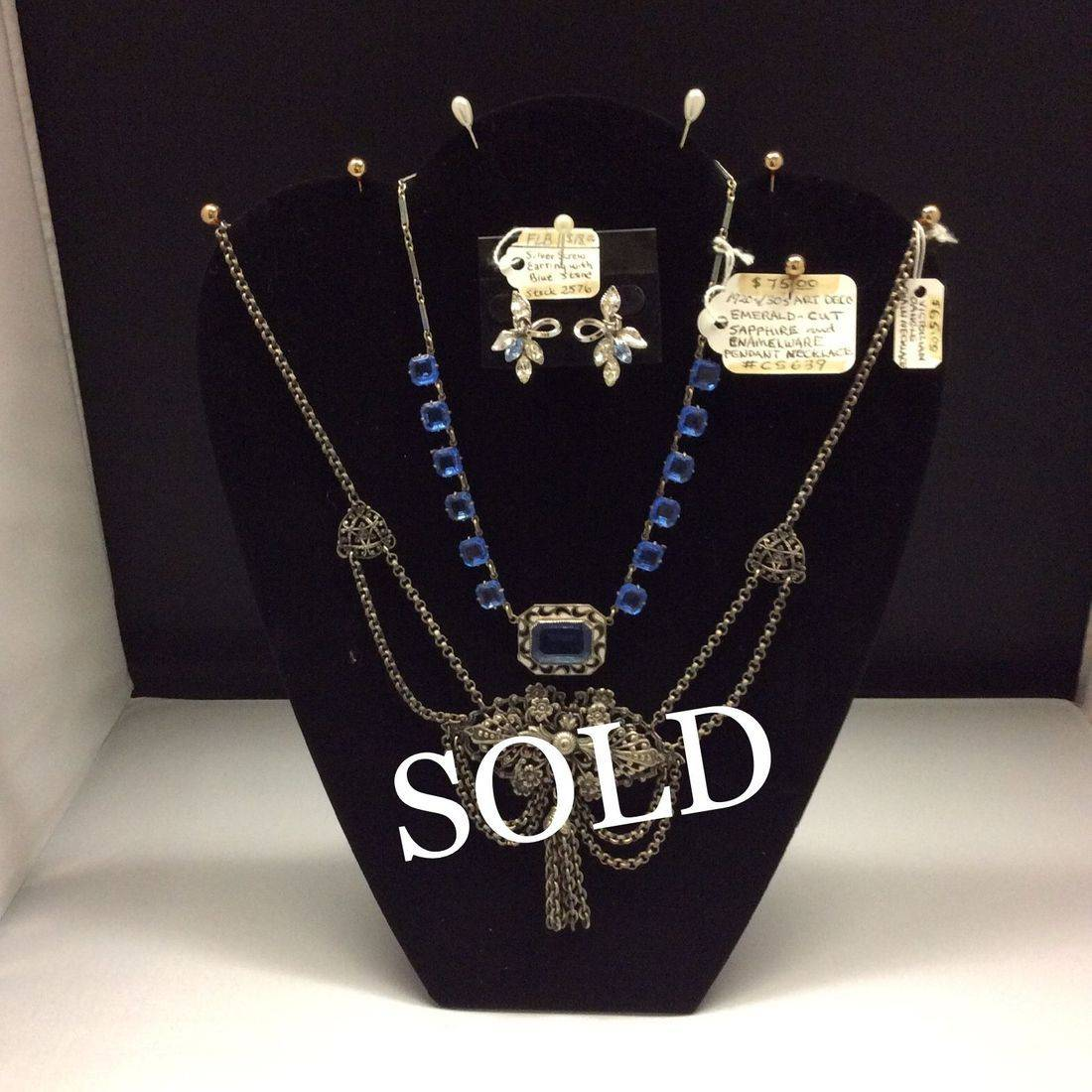 Vin. Silver Earrings w/Blue stones  $18,  1920's/30's Deco, Sapphire Necklace  $75,  Victorian Dangle, Chain Necklace  'SOLD'