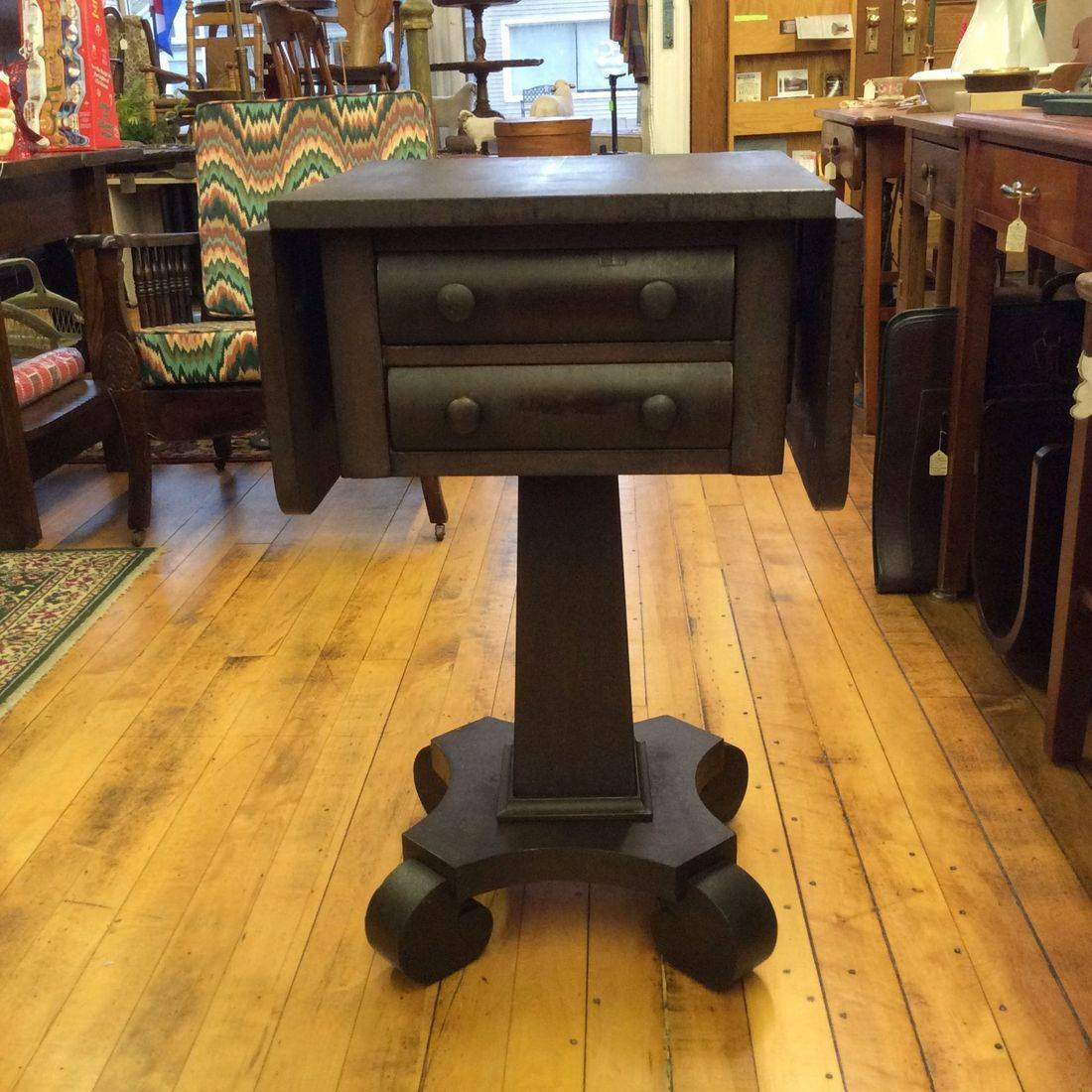 Early 1900's Empire Dark Mahogany Drop-Leaf, 2-Drawer Side Stand   $150.00