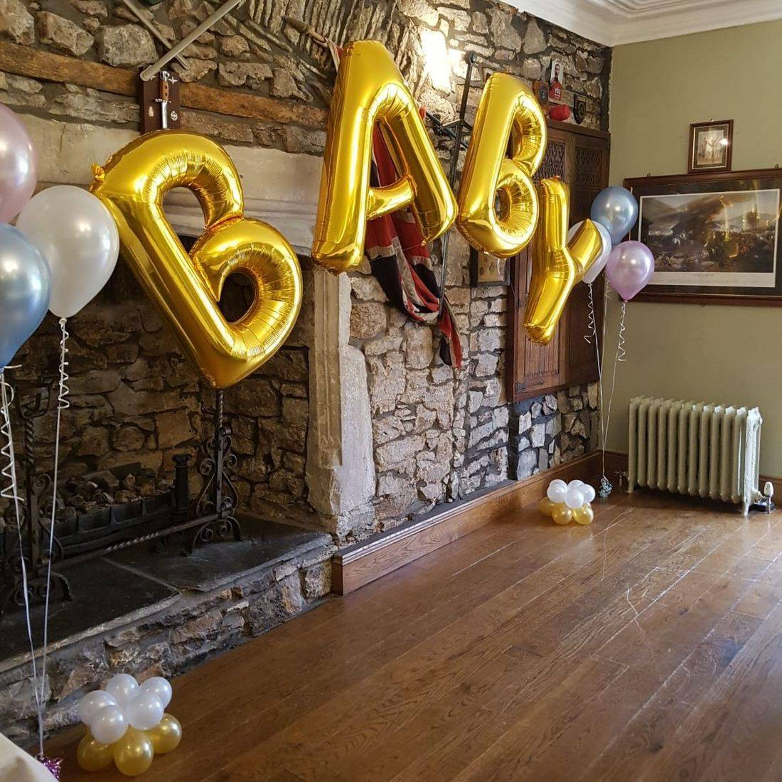 Large foil letters for a baby shower