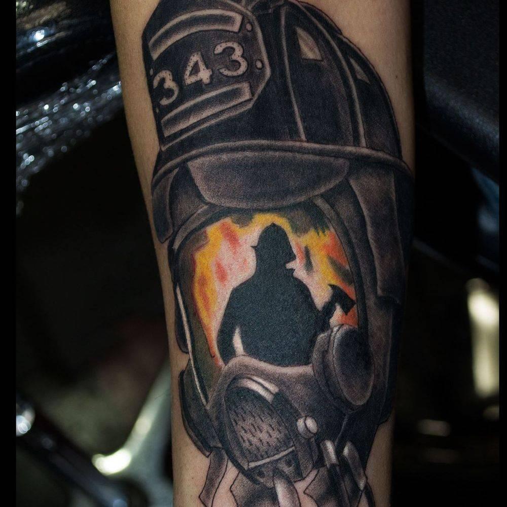 Black and grey fireman tattoo,  Ann Arbor Michigan