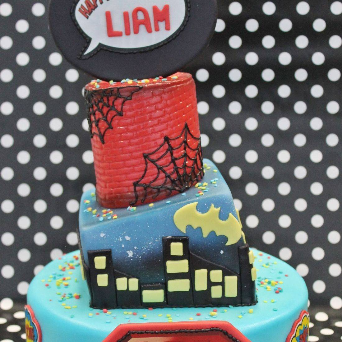 Custom Super Hero Topsy Cake  Milwaukee