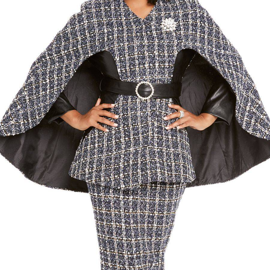 tweed skirt suit cape