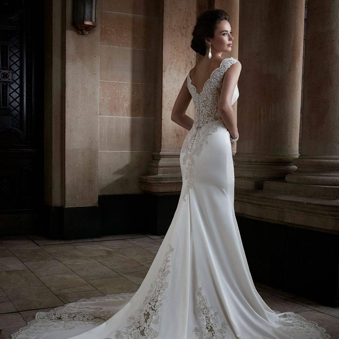 sleeveless wedding dress, sophia tolli, sophia tolli wedding dress, satin wedding dress, fit and flare wedding dress,  v neck wedding dress, plunging neckline wedding dress,