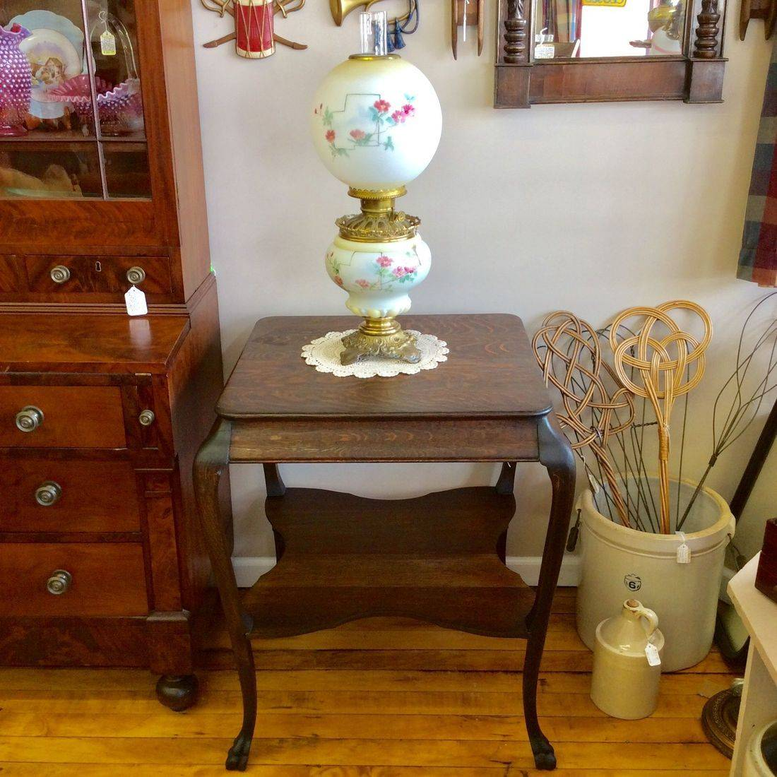 "Early 1900's Oak Parlor Table w/Shelf & Claw Feet  26-1/2""W x 26-1/2""D x 30-1/4""H.  $95.00"