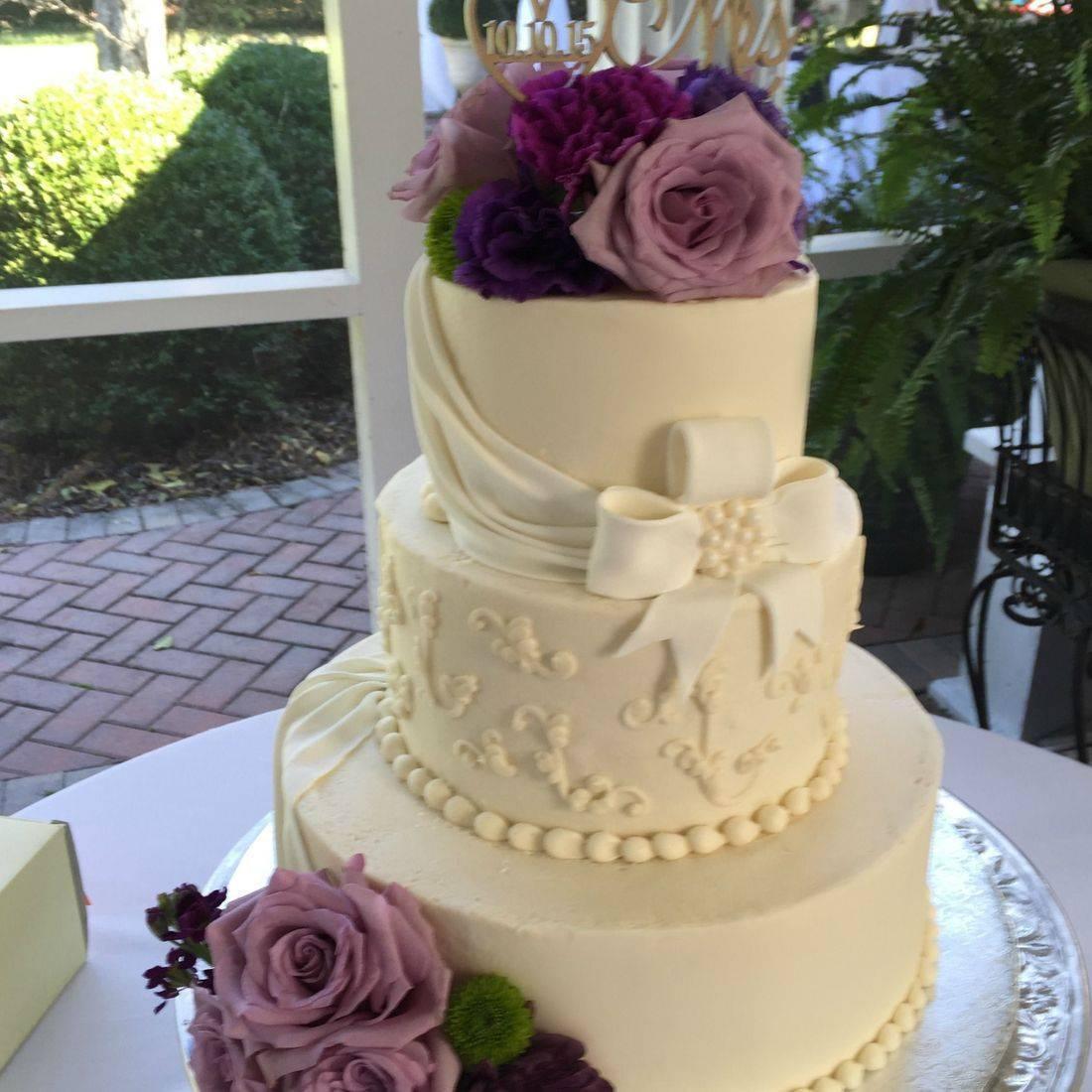 Buttercream Wedding Bow Purple Lavender Scrolls