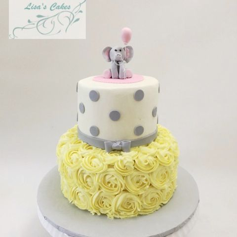 Elephant Shower Cake Yellow and Grey