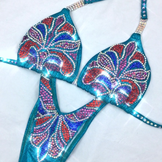 turquoise figure suit