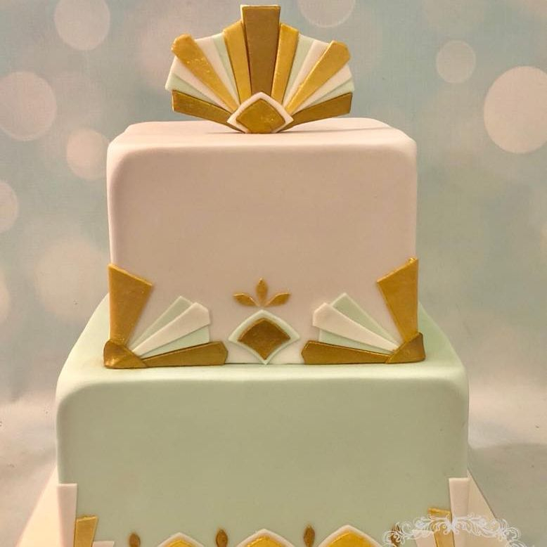 Art Deco Birthday Cake Mint White Gold